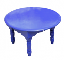 Moroccan Round  Mida Table Zouak Hand painted in Majorelle Blue 48cm/19'' (ZT312)